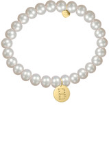 Jane Basch 14K Diamond & 6Mm Pearl Initial Stretch Bracelet (A-Z)