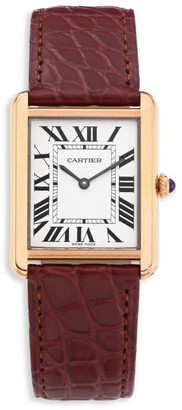 Cartier Tank Solo Large 18K Rose Gold & Brown Alligator-Strap Watch