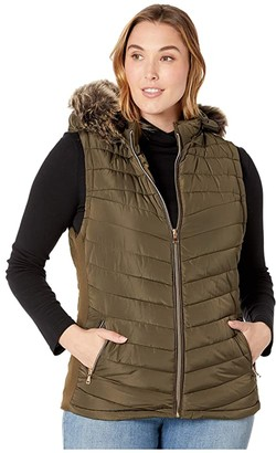YMI Snobbish Plus Size Polyfill Puffer Vest with Faux Fur Trim Hood (Olive) Women's Clothing
