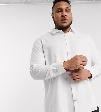 Burton Menswear Big & Tall textured shirt in white