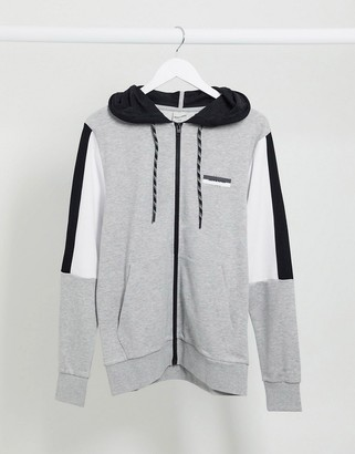 Jack and Jones color panel sweat zip hood