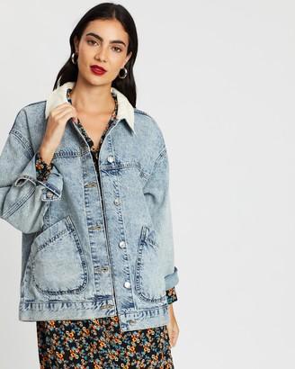 Topshop Acid Wash Denim Oversized Jacket