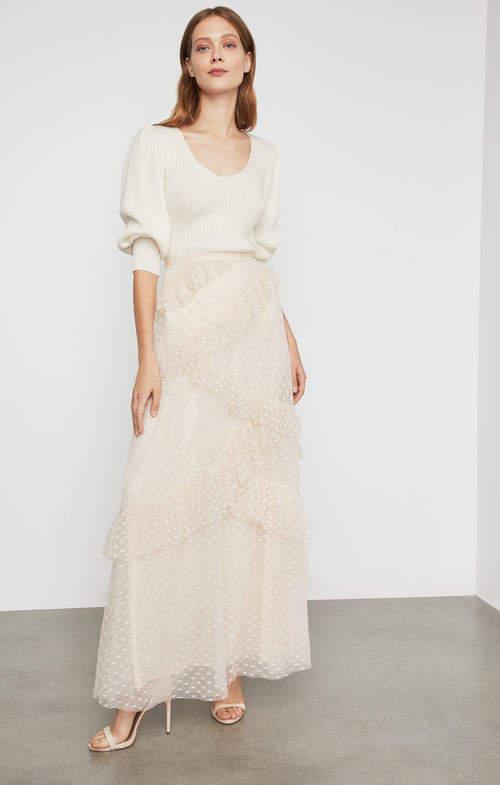 Asymmetrical Ruffle Maxi Skirt