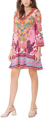 Hale Bob Long Sleeve V Neck Dress