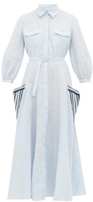 Gabriela Hearst Woodward Aloe-infused Linen Shirtdress - Blue Multi
