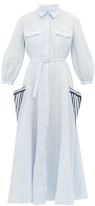 Gabriela Hearst Woodward Aloe-infused Linen Shirtdress - Womens - Blue Multi