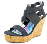 Madden-Girl Eastt Womens 7.5 Black Textile Wedge Sandals Shoes New/Display