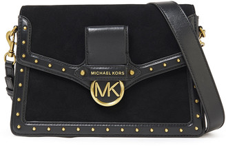 MICHAEL Michael Kors Studded Leather And Suede Shoulder Bag