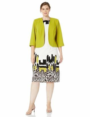 Maya Brooke Women's Asymmetrical Animal Printed Jacket Dress