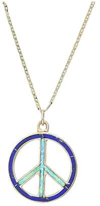Vanessa Mooney Peace Necklace with Lapis and Turquoise (Gold) Necklace