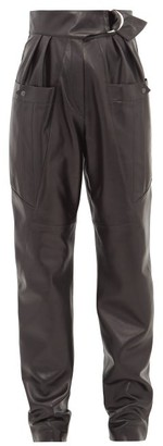Isabel Marant Ferris High-rise Belted Leather Cargo Trousers - Black