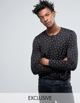 Reclaimed Vintage Inspired X Romeo & Juliet Slim Fit Collarless Shirt In Black With Rose Print