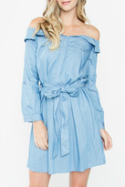Sugar Lips Chambray Off-The-Shoulder Dress