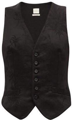 Zanini - Leaf-jacquard Linen-blend Waistcoat - Womens - Black