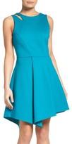 Adelyn Rae Women's Asymmetrical Ponte Fit & Flare Dress