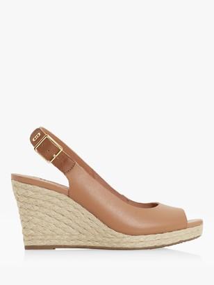 Dune Kicks 2 Leather Espadrille Wedge Heel Sandals, Camel