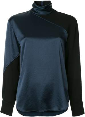 Cédric Charlier Color-Block High-Neck Blouse