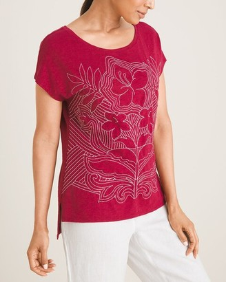 Chico's Stitched Floral Tee