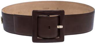 Roberto Cavalli Brown Leather Square Buckle Waist Belt 90CM