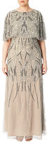 Adrianna Papell Plus Size Beaded Cape Long Dress, Deep Platinum
