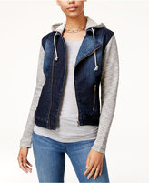 Tinseltown Juniors' Denim Hoodie Moto Jacket