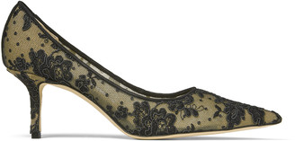 Jimmy Choo LOVE 65 Black Floral Lace Pointy Toe Pumps