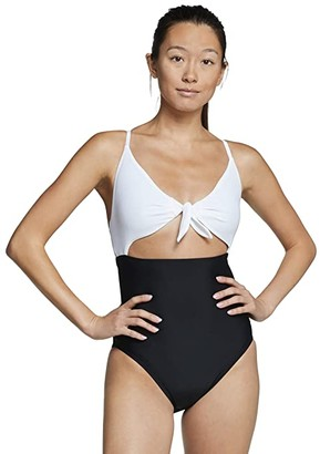 Speedo Tie Front One-Piece Black) Women's Swimsuits One Piece