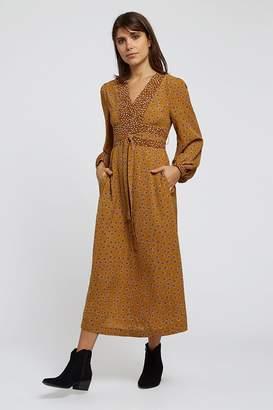 Louche Jordi Dandelion Print Midi Dress - polyester | mustard yellow | 16 - Mustard yellow