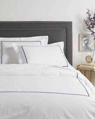 Melange Home 300Tc Percale Single Embroidered Stripe Duvet Set