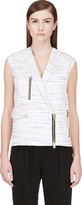 Giambattista Valli Black and Ivory Marled Double-breasted Biker Vest