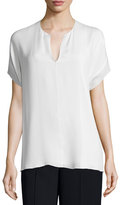 Vince Pintuck Split-Neck Silk Top, Off White