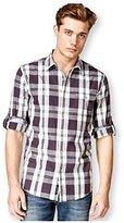 DKNY Men's Long Sleeve Roll Tab Yarn Dye Slub Plaid Shirt