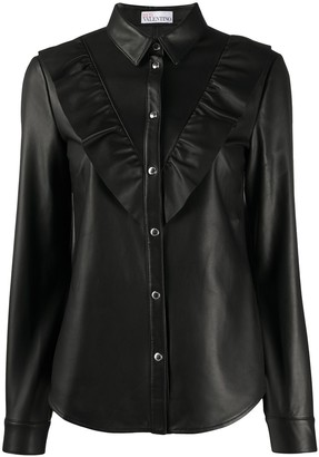 RED Valentino ruffled trimming leather shirt