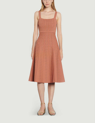 Sandro Diamon embellished stretch-knit midi dress