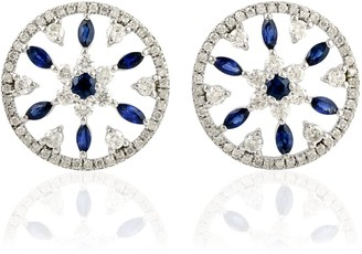 Artisan 18K White Gold Round Stud Earring With Blue Sapphire And Pave Diamond
