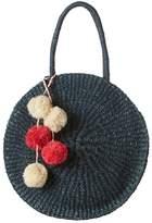 Kayu Sienna Round Straw Bag In Navy