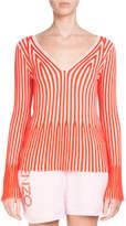 Kenzo V-Neck Long-Sleeve Striped Knit Sweater