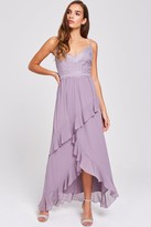 Thumbnail for your product : Little Mistress Paige Lavender Lace And Frill Maxi Dress