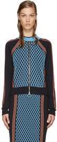 Versace Navy Knit Bomber Jacket