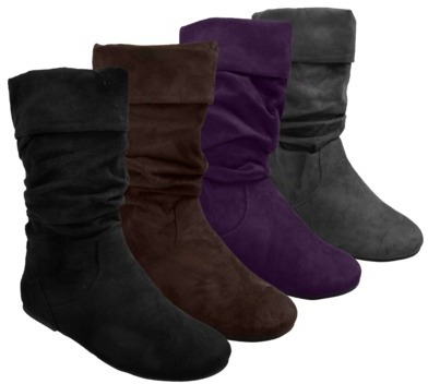 Boots Womens Glaze by Adi Slouchy Microsuede Assorted Colors