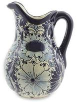 Curvaceous Talavera Style Handcrafted Ceramic Pitcher, 'Blue Colonial Blossom'