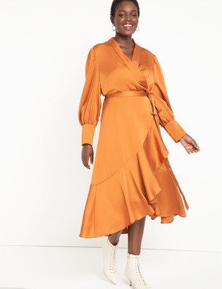 ELOQUII Bishop Sleeve Wrap Dress