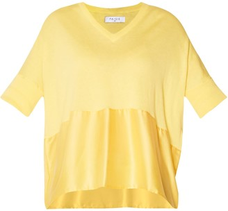 Paisie Relaxed Fit Knitted V-Neck Top With Silk Panel In Yellow