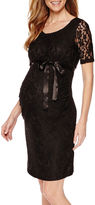 PLANET MOTHERHOOD Planet Motherhood Elbow Sleeve Lace Dress with Bow Belt-Maternity