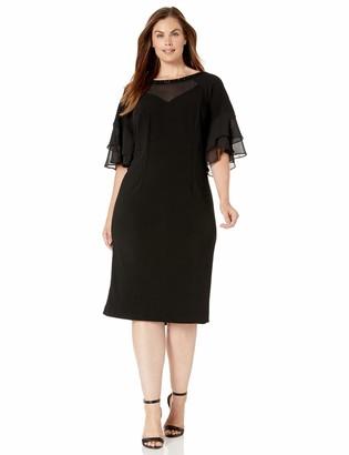 Maya Brooke Women's Plus Size Flared Sleeve Embellished Neckline Dress