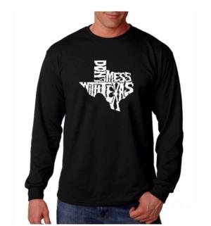 LA Pop Art Men's Word Art Long Sleeve T-Shirt- Don't Mess With Texas