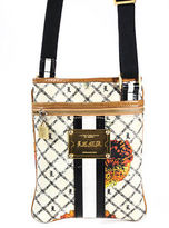 L.A.M.B. Off White Beige Coated Canvas Abstract Print Crossbody Bag