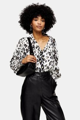 Topshop Womens Black And White Scribble Animal Print Shirt - Natural