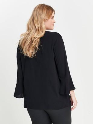 Evans Zip Front Frill Sleeve Top - Black
