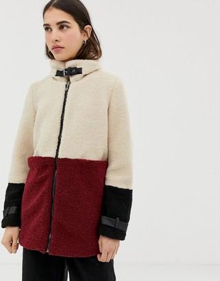 Only Celina blocked faux fur sherpa coat